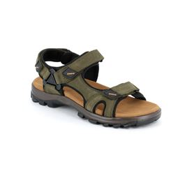 Sandal man leather and fabric